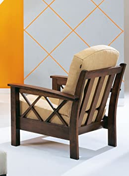 "Armchair ""Jose poor art"" with solid wood structure fully removable and prompt delivery 72 x 85 x 92 - Made in Italy"