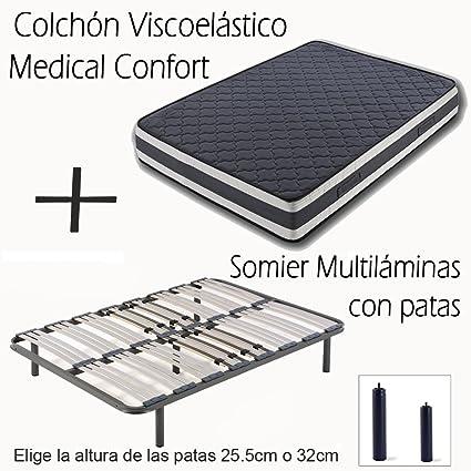 SOMIER MULTILÁMINAS CON REGULACIÓN LUMBAR Y 4 PATAS DE 32CM + COLCHÓN VISCOELÁSTICO DOBLE CARA MEDICAL CONFORT-90x190cm