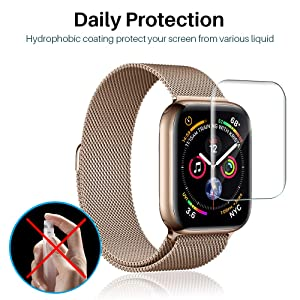 [6 Pack] L K Screen Protector for Apple Watch Series 5 / 4 44mm , [Full Coverage] [Self Healing] Anti-Bubble for iWatch 5 Flexible TPU HD Clear Film
