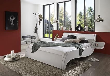 SAM® Polsterbett Bett Murcia in weiß 140 x 200 cm inklusiv 2 Nachttischablagen