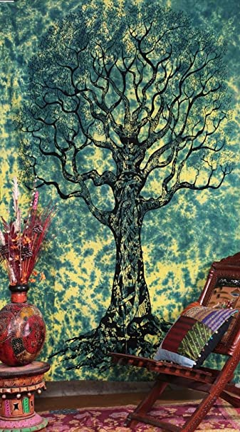 Labhanshi Twin Tree Of Life - Tie Dye staggering Indian Tapestry Throw Bedspread -