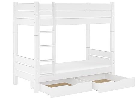 60.16-10 W T100 M S2 Etagenbett fur Erwachsene weiß 100x200 cm, Nische 100 cm, teilbar, mit 2 Matratzen, 2 Bettkästen u Lattenrollroste