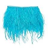 wanjin Ostrich Feathers Trims Fringe with Satin Ribbon Tape for Dress Sewing Crafts Costumes Decoration Pack of 2 Yards (Turquoise) (Color: 4#-Turquoise)