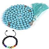 CAT EYE JEWELS 8mm Mala Beads Necklace Yoga Meditation 108 Hand Knotted Turquoise Japa Mala Buddhist Prayer Beads Tassel Necklace Healing Lava Rock Beads Diffuser Bracelet (Color: Turquoise T007)