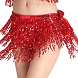 MUNAFIE Women's Belly Dance Hip Scarf Performance Outfits Skirt Festival Clothing Red