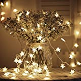 Tencoz Star String Lights,Battery Operated String Lights with 50 LED Star Curtain Lights for Bedroom Curtain Wedding Birthday Holidays Rooms Indoor or