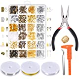 Paxcoo Jewelry Making Supplies Kit - Jewelry Repair Tools with Accessories Jewelry Pliers Findings and Beading Wires for Adult and Beginners (Color: Silver Gold and Bronze)