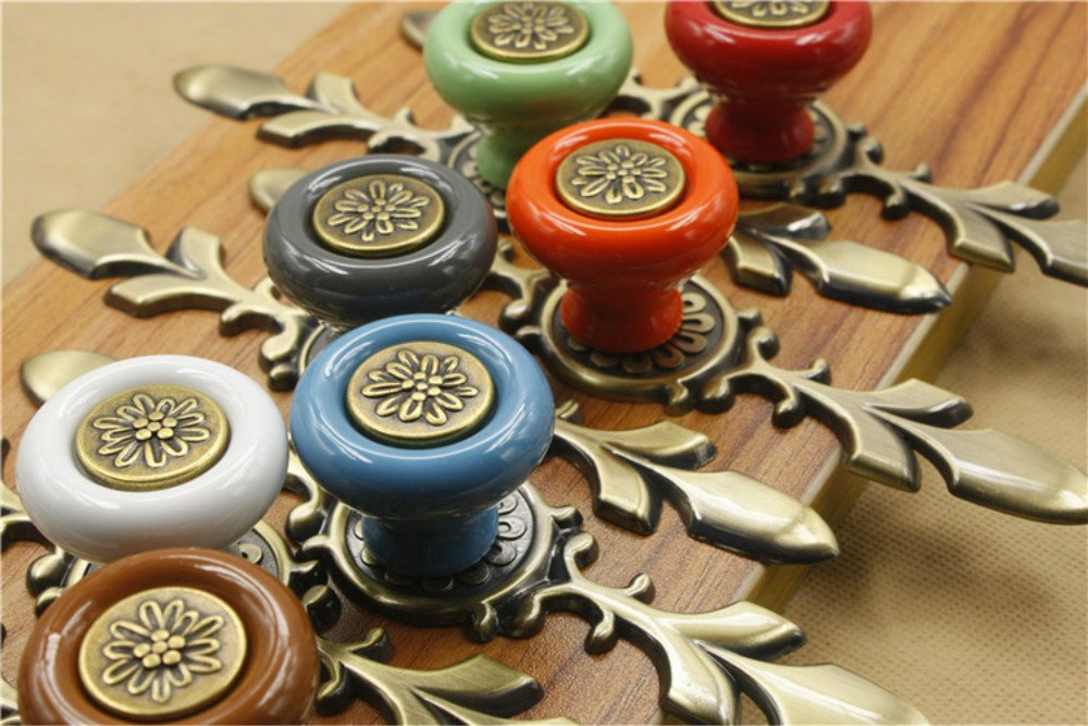 Sytian® 7pcs Multicolor High Quality Vintage Style Ceramic Pumpkin Drawer Knobs Dresser Cabinet Cupboard Wardrobe Pull Handles Door Knobs - With Screw 3