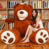 LApapaye Giant Teddy Bears Stuffed Animal Plush Toy with Footprints Big Bear Life Size for Girlfriend (DB-50inch) (Tamaño: DB-125cm/50inch)