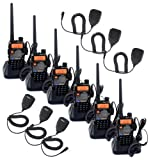 Retevis RT-5RV 2 Way Radio 5W 128CH VHF/UHF 136-174/400-520 MHz VOX DTMF/CTCSS/DCS FM Walkie Talkies (6 Pack) and 2 Pin Shoulder Speaker Mic(6 Pack)