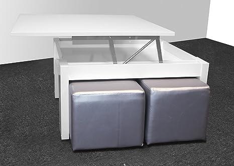 Table basse relevable blanc brillant avec 4 poufs simili cuir coloris argenté - Dim : 80x80x42.5 cm -PEGANE-