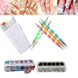 Yimart 22Pcs Nail Art Tool Decorations Kit Set Design Dotting Painting Drawing Polish Brush Pen (B)