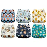 Mama Koala One Size Baby Washable Reusable Pocket Cloth Diapers, 6 Pack with 6 One Size Microfiber Inserts (Animal Profile) (Color: Animal Profile, Tamaño: One Size)