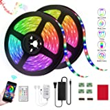 LED Strip Lights,Reemeer RGB Strip Lights Kit 32.8ft/10M SMD5050 Color Changing LED Tape Lights with Remote APP Control Sync to Music Apply LED Strip for Bedroom Kitchen Party(2-Pack) (Color: Multicolor)
