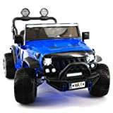 2018 Best Electric Ride On Car Two Seater Truck with Remote Control for Kids | Large Capacity 12V Power Battery Licensed Kid Car to Drive with 3 Speeds, Leather Seat, Rubber Tires - Blue (Color: Blue, Tamaño: Two Seater)