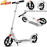 Aceshin Scooter for Adults/Teens/Kids, 200mm Big Wheels Scooter Easy Folding Lightweight Height Adjustable Rear Fender Brake Scooter Support 220lbs (White) (Color: White)