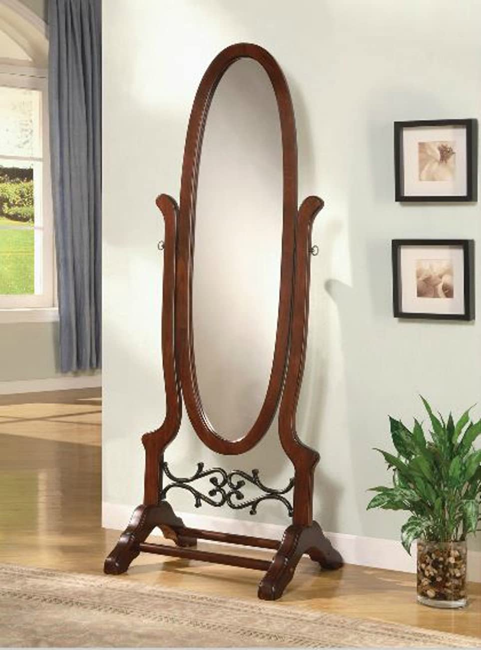 Wildon Home Cherry Full Length Standing Seatac Cheval Floor Mirror - This Oval Floor Mirror Is in Beautiful Contemporary Style and Is the Perfect Addition to Your Bedroom, Living Room, Family Room, Office or Any Other Room in You Home 4