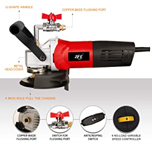 ZFE 800W/110V Variable Speed 4'' Wet Polisher/Grinder & Granite Diamond Polishing Pads Concrete Polisher Stone Polisher for Granite/Marble/Concrete/Stones (Color: Blcak/Red/Silvery, Tamaño: 4 Inch)