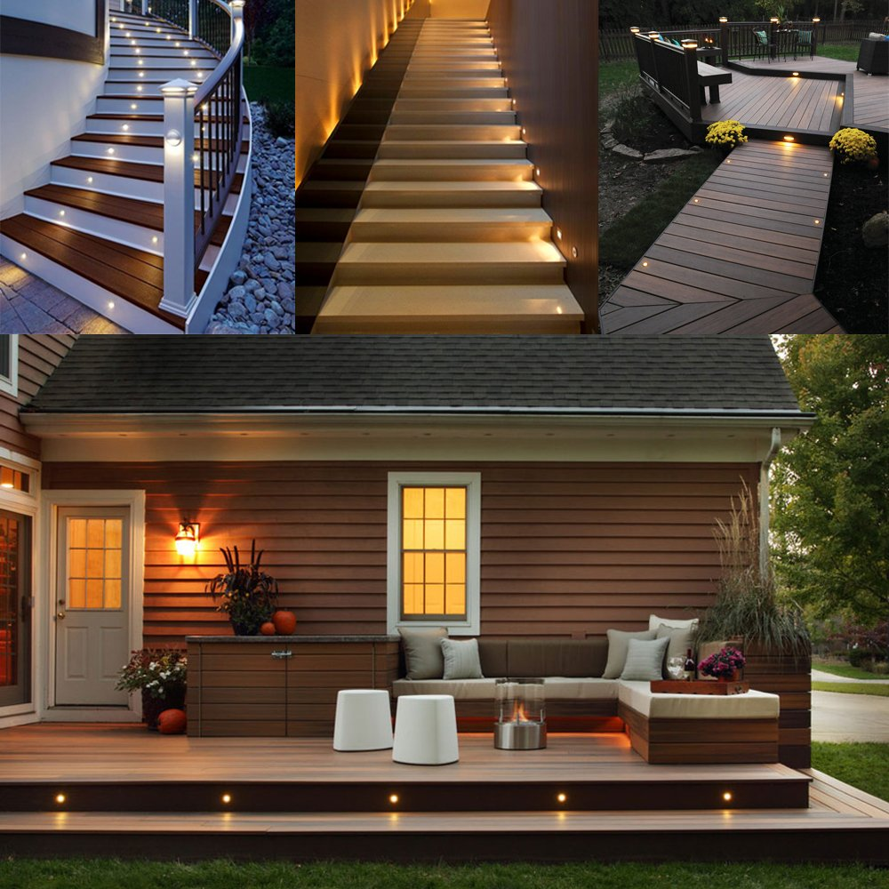 LED Deck Lights Kit 12V Low Voltage Waterproof IP67 Warm White Recessed Deck Lighting In Ground Light for Stair Step Garden Patio Yard Wood Floor Outdoor Landscape Lights Fixtures(Pack of 10)