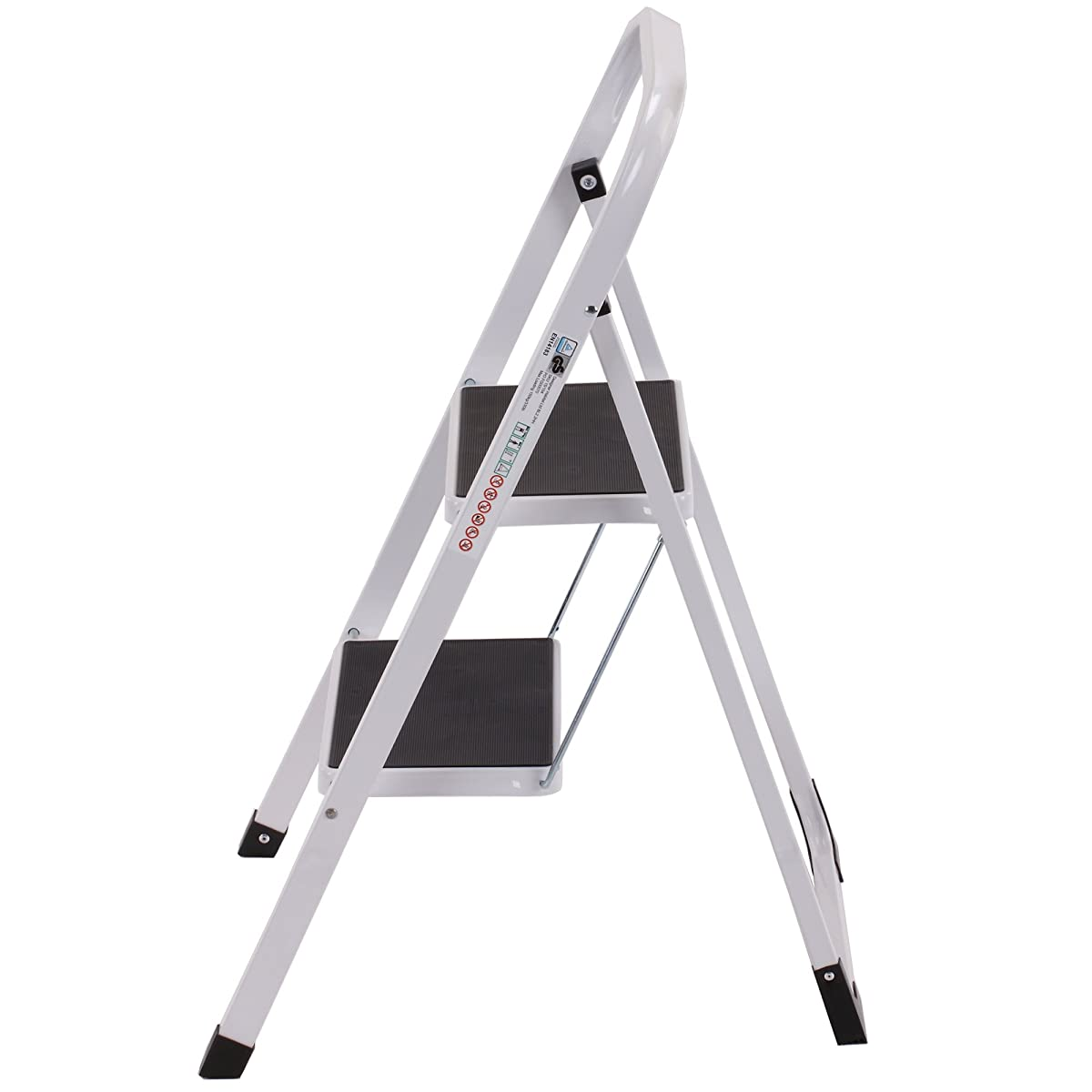 Vonhaus Steel Folding Compact Portable 2 Step Ladder With