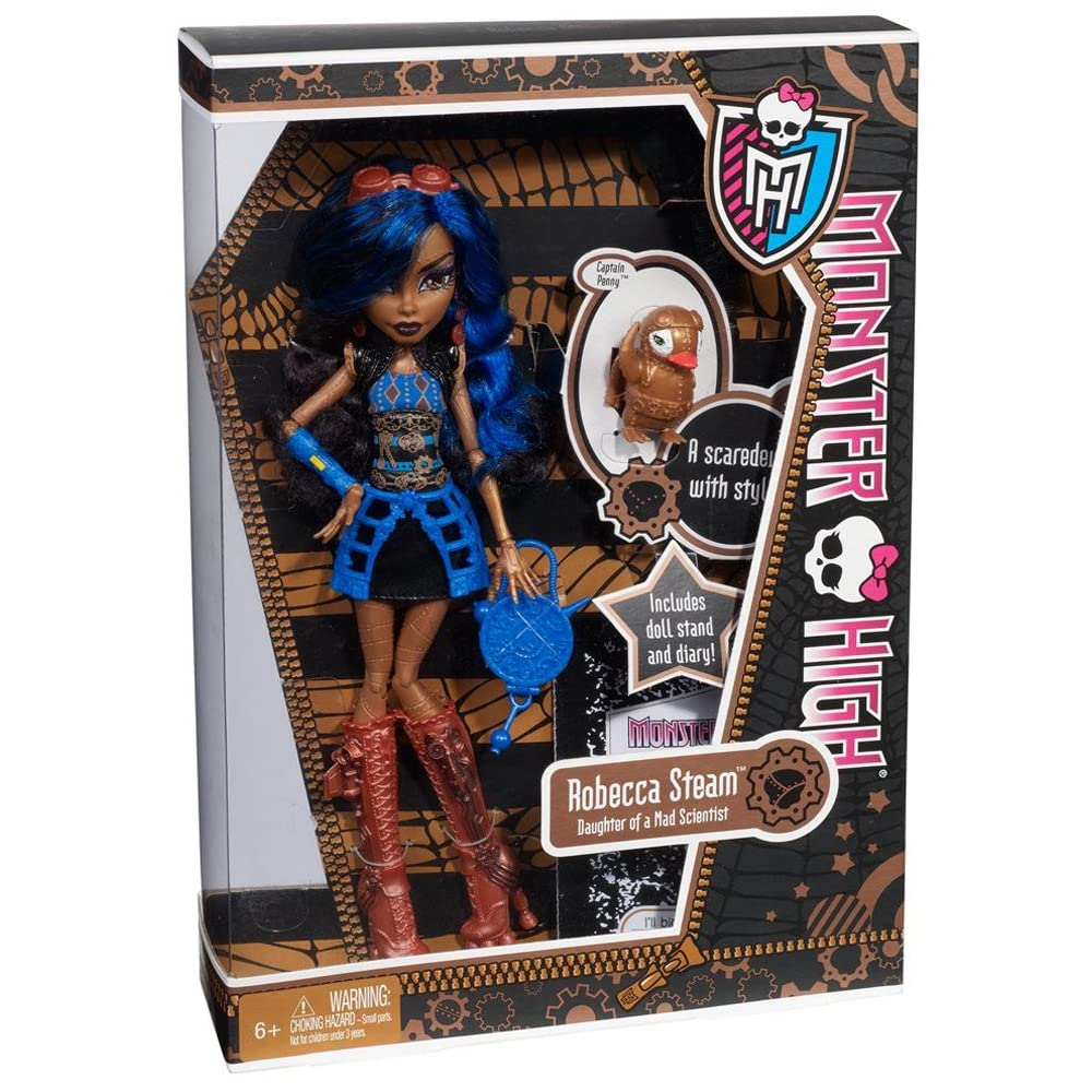 Nib monster high robecca steam w pet mechanical penguin diary stand brush ebay - Monster high robecca steam ...