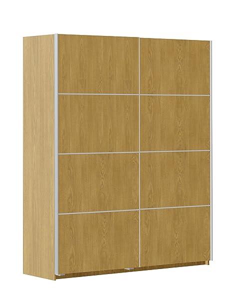 Armario ropero color roble 180x220cm de 2 puertas correderas, mueble de dormitorio de gran capacidad de almacenamiento. 220cm altura x 180cm ancho x 60cm fondo
