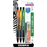 Zebra Z-Grip Plus Mechanical Pencil, 0.7mm, Bonus Lead and Erasers, Assorted Barrel Colors, Orange, Yellow, Green, 3-Count (Color: Orange, Yellow, green, Tamaño: 3-Count)