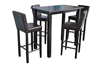 4x Barhocker mit Bartisch Set Essgruppe Stehtisch dunkelbraun Bistrotisch 120x80x110cm L/B/H Holz Leder Kolonial