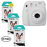 Fujifilm Instax Mini 9 Instant Camera (Smokey White), 3x Twin Pack Instant Film (60 Sheets) Bundle (Color: Smokey White, Tamaño: 60 Prints)