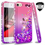 iPod Touch 7 Case, iPod Touch 6 Case, iPod Touch 5 Case with Tempered Glass Screen Protector [2 Pack] for Girls, LeYi Glitter Liquid Clear Phone Case for Apple iPod Touch 7th/ 6th/ 5th Gen Pink/Purple (Color: Gradient Pink/Purple)