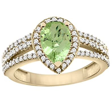14ct Yellow Gold Natural Peridot Ring 9x7 Pear Halo Diamond, sizes J - T