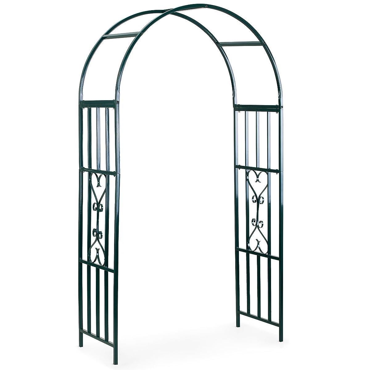 VonHaus Dark Green Metal Garden Arbor Trellis Arch Arbour for Gardening, Weddings, Gate and Plant Decoration