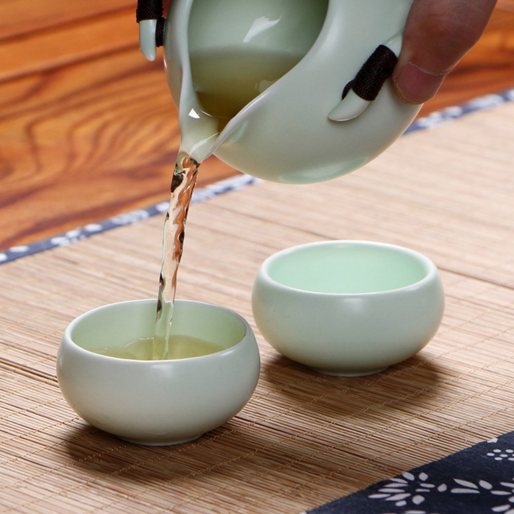XDOBO Imported Vintage Chinese & Japanese Style Porcelain Handmade Kung Fu Tea Set, 10-pack (Green) 3