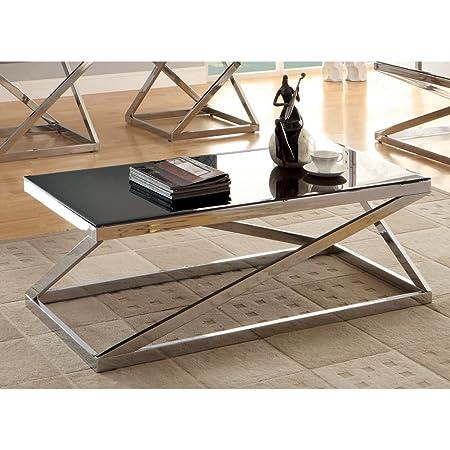 Furniture of America Bellegra Rectangular Beveled Tempered Glass Coffee Table - Chrome /