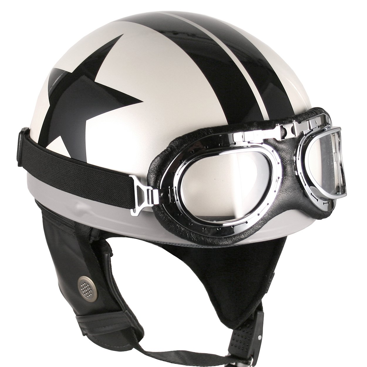 Goggles Vintage German Style Half Helmet (White Black-star , Large) Motorcycle Biker Cruiser Scooter Touring Helmet black aluminum motorcycle accessories deep cut contrast gas fuel tank console door cover for harley touring flhx fltr flht 08 16