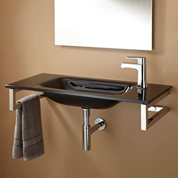 Naiture Wall-Mount Galsss Sink In Black With Antique Copper With 1-1/2 Dome Sink Pop-up Drain