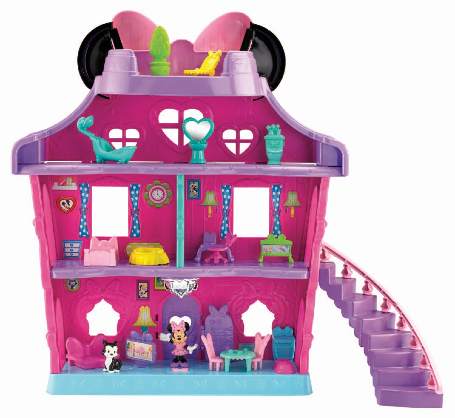 Pink and Purple Plastic Dollhouse with Staircase Gift for Girls Who Love Minnie Mouse