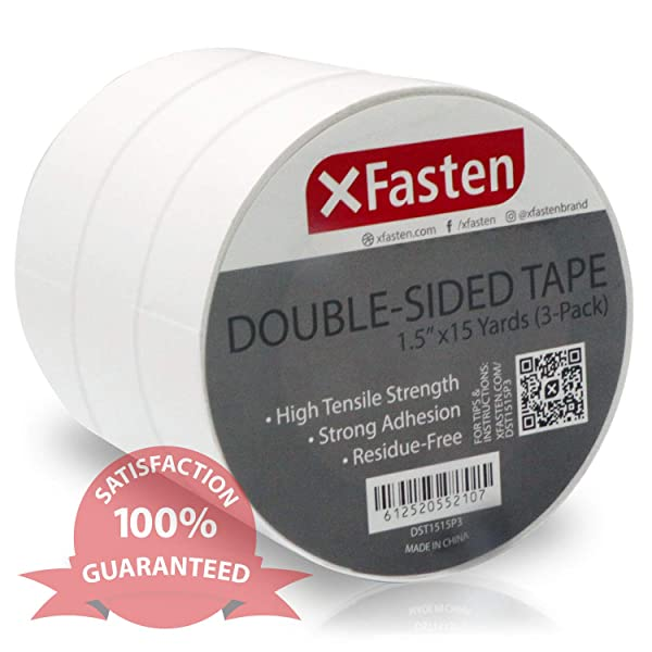 XFasten Double Sided Tape Removable, 1.5-Inch by 15-Yards (Pack of 3) (Color: White, Tamaño: 1.5-Inch x 15-Yards (3-Pack))