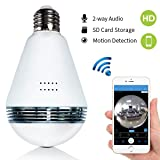 Light Bulb Camera – Bysameyee Wireless Wi-Fi IP Cam with Remote Live View, 360 Degree Panoramic Fisheye Lens Dome Camera for Home Office Security Monitoring