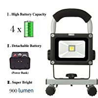 LOFTEK 8800mAh Waterproof Rechargeable LED Work Light with Adapter and Car Charger