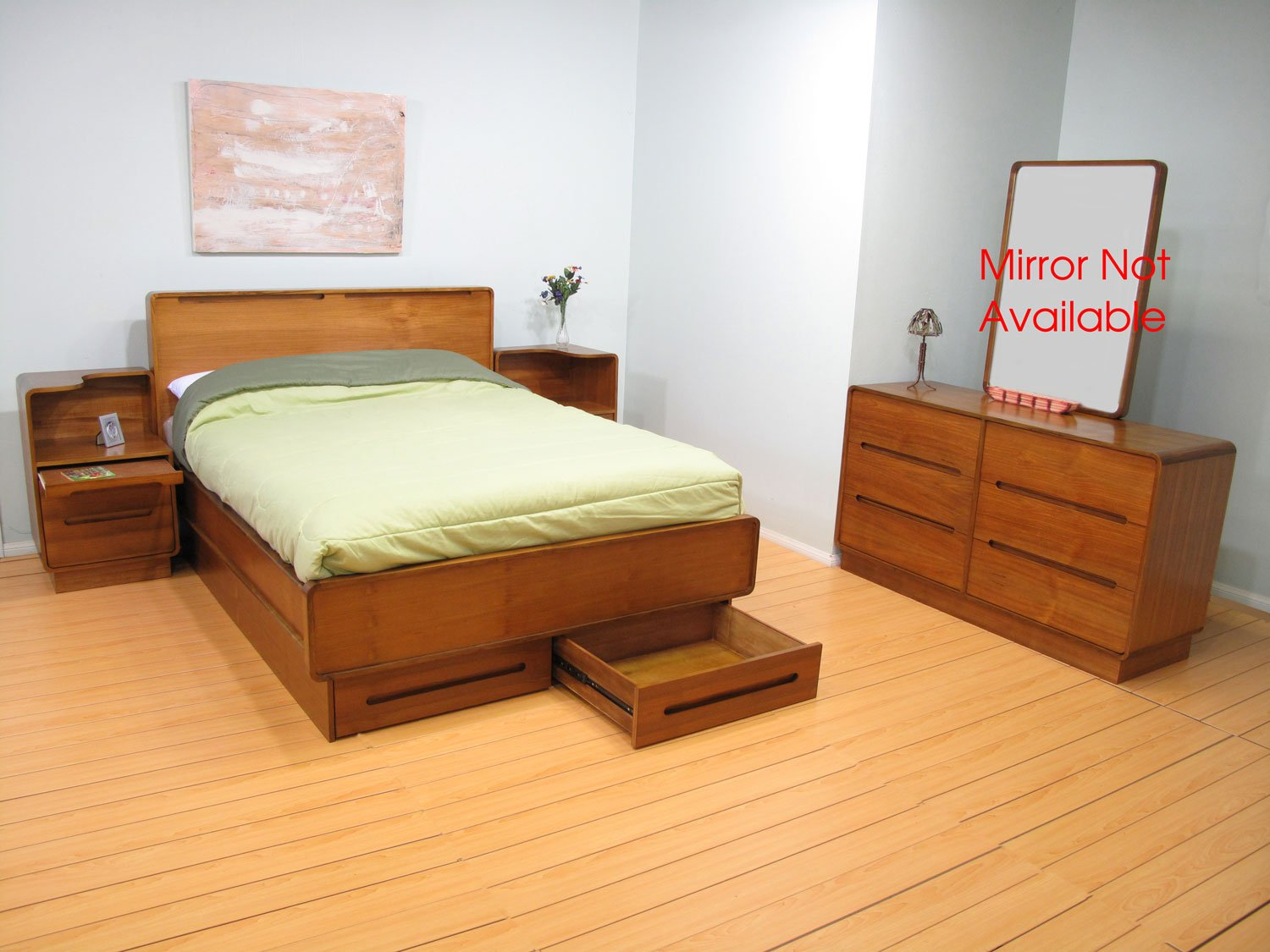 European Contemporary Design Teak Wood Bedroom 4PC Set Bed NS Dresser Cali