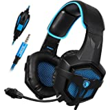 Sades SA-807 Stereo Bass Surround, Soft Memory Earmuffs, Gaming Headset Compatible with PC Xbox One, Mac, PS4, PS4 Pro, Laptop and Mobile Gaming(Black and Blue) (Color: Black)