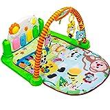 Tapiona Baby Play Gym Mat - Kick Play Piano Mat Infants - Activity Mat Boy Girl 0-36 Month - 2 Modes Kick Piano, Mirror, 4 Rattle Toys