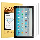 [2 Pack] Fire HD 10 Screen Protector, SPARIN Tempered Glass Screen Protector with Scratch Resistant/Easy Install for All-New Fire HD 10 / Fire HD 10 Kids Edition (Color: Clear)