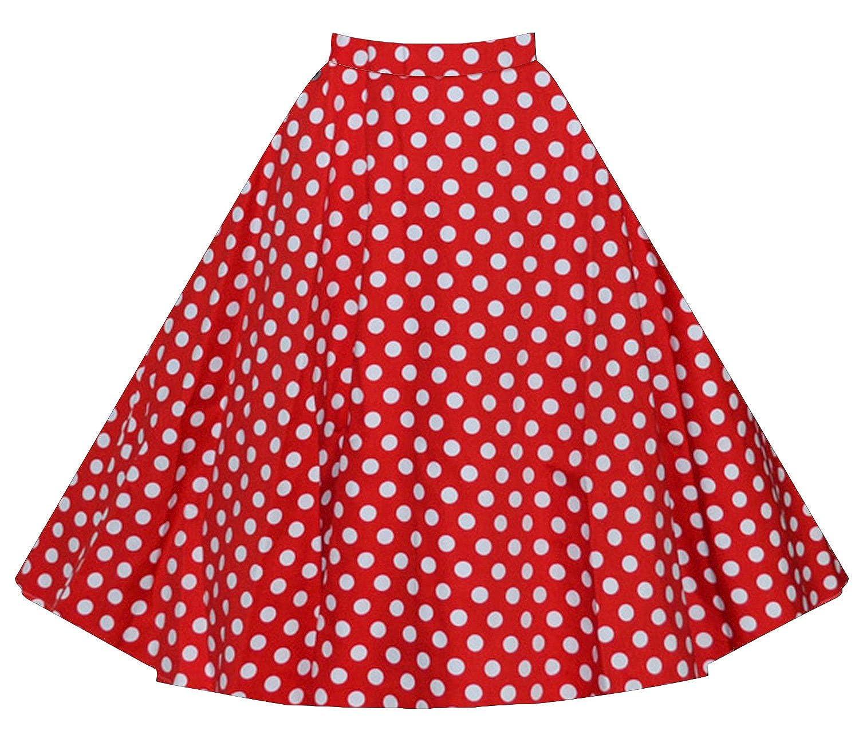 Polka Dot Print Pleated Skater Swing Midi Skirt on Amazon