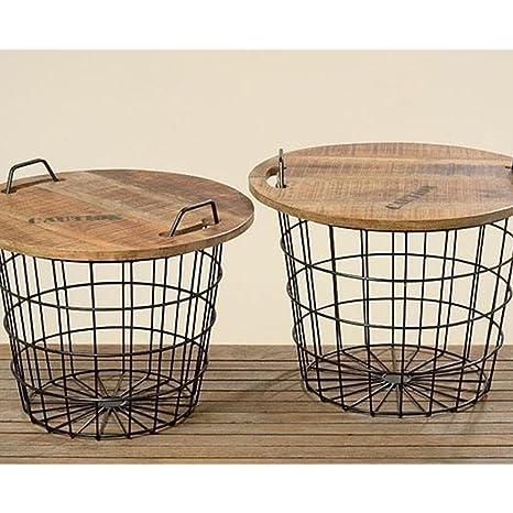Table Basse Ronde Style Industriel en Bois et Métal Flexo