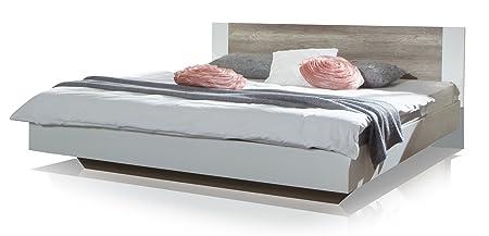 Wimex 795293 Bett 180 x 200 cm Liegefläche, Aufstellmaß 189 x 80 x 210 cm, alpinweiß / Absetzungen Wildeiche-Nachbildung