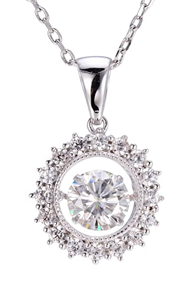 Hutang Jewelry Dancing Pendant 1.18ct Moissanite Diamond & White Zircon 925 Sterling Silver Necklace