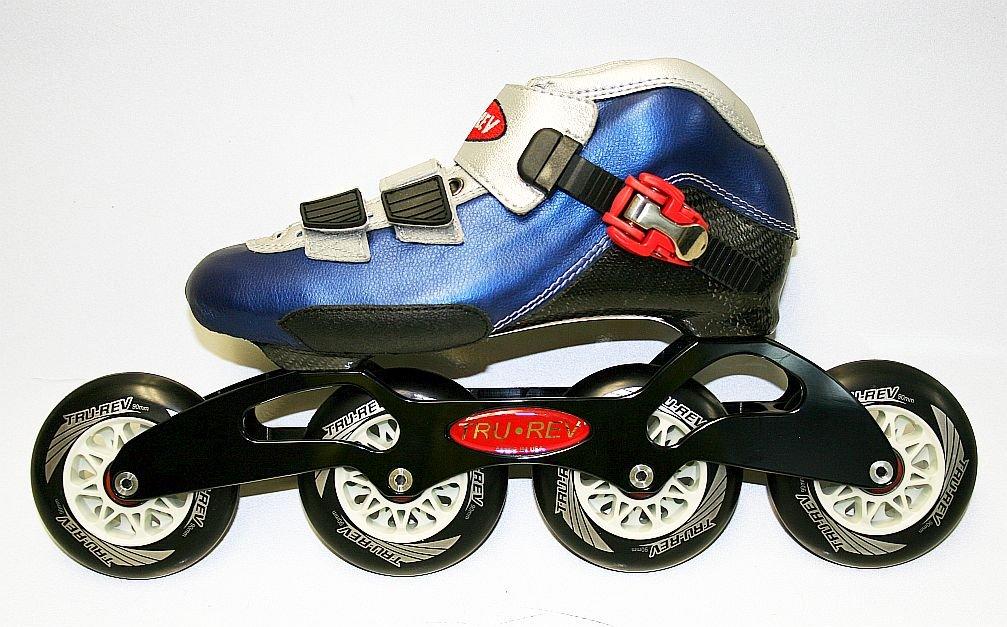 Trurev Carbon Fiber Inline Skates- 4-90 Size 6.5- Blue