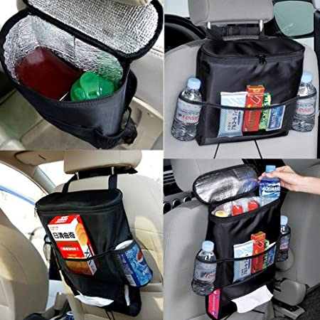 Image result for Multifunctional car seatback Insulated thermal cooler bag organizer tissue Box fabric storage hanging bag Travel Car Seat Back (Color May Vary)